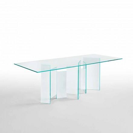 Tavolo da Pranzo Moderno in Vetro Extrachiaro o Fumè Made in Italy – Random