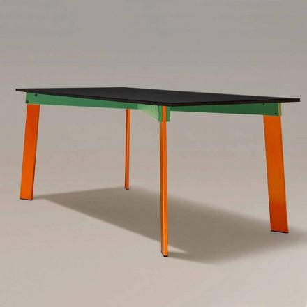 Tavolo da Pranzo Moderno Piano in Legno e Base Acciaio Made in Italy - Aronte