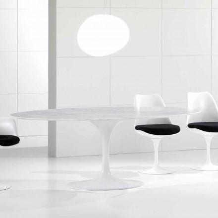 Tavolo da Pranzo Ovale di Lusso, Piano in Marmo Carrara, Made in Italy – Nerone