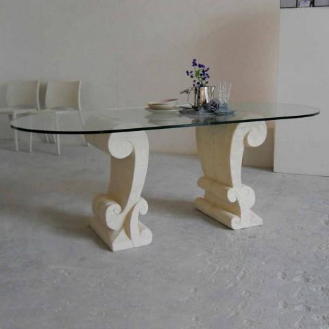 Tavoli In Cristallo Classici.Tavolo Ovale Scolpito A Mano In Pietra Di Vicenza E Cristallo Aracne