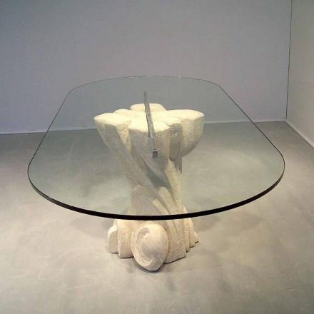 Tavolo ovale scolpito a mano in Pietra di Vicenza e cristallo Afrodite