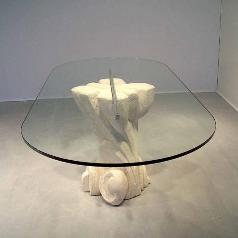 Vendita Tavoli Ovali In Cristallo.Tavolo Ovale Scolpito A Mano In Pietra Di Vicenza E Cristallo Afrodite