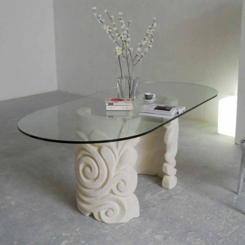 Tavoli In Pietra E Cristallo.Tavolo Ovale In Pietra Di Vicenza E Cristallo Aden Scolpito A Mano