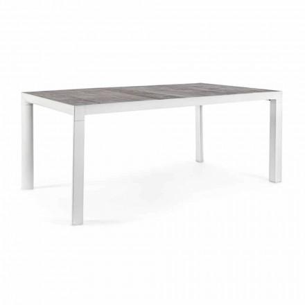 Tavolo da Pranzo per Esterno con Piano in Ceramica e Base in Alluminio - Jen