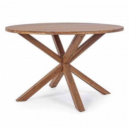 Tavolo da Pranzo per Esterno con Piano Rotondo in Legno di Acacia - Perry