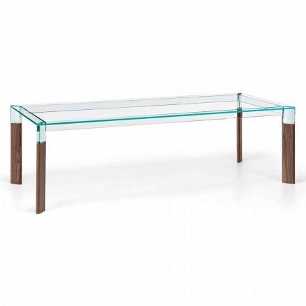 Tavolo da Pranzo Piano in Vetro e Base Legno Massello Made in Italy - Presino