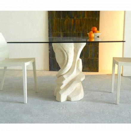 Tavolo quadrato in Pietra di Vicenza e cristallo Leda, scolpito a mano