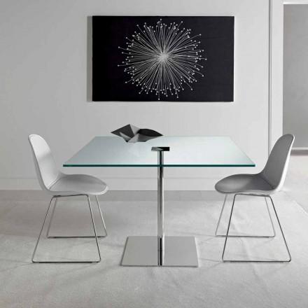 Tavolo da Pranzo Quadrato in Vetro Extrachiaro e Metallo Made in Italy – Dolce