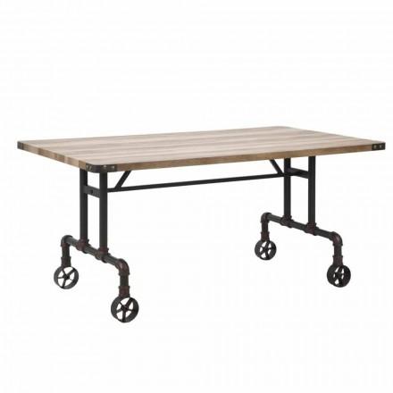 Tavolo da Pranzo Rettangolare di Design, Piano MDF e Base in Metallo - Fabrice