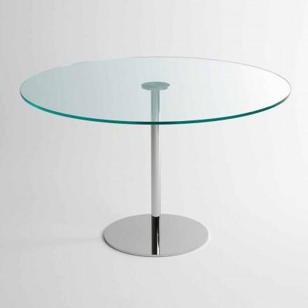 Tavolo da Pranzo Rotondo con Piano in Vetro Extrachiaro Made in Italy – Dolce
