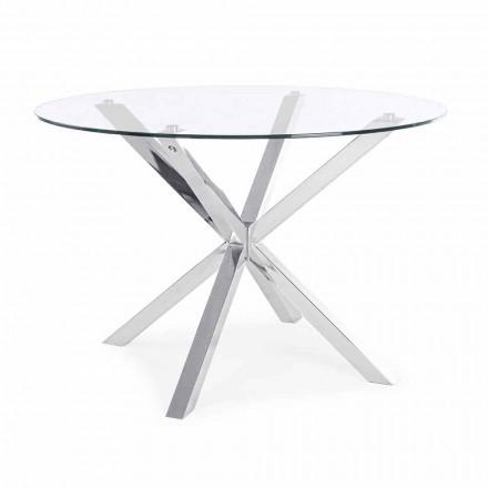 Tavolo da Pranzo Rotondo con Piano in Vetro Temperato Homemotion - Denda