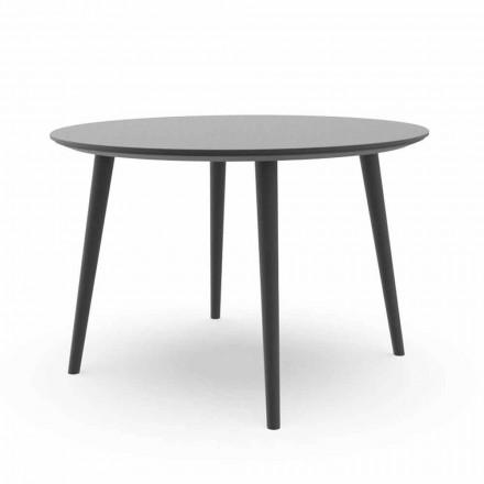 Tavolo da Pranzo Rotondo da Giardino in Alluminio Bianco o Carbone – Sofy Talenti