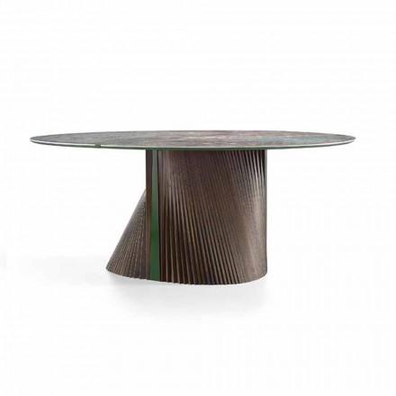 Tavolo da Pranzo Rotondo di Lusso in Gres Lucido e Legno Made in Italy - Madame