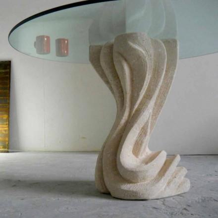 Tavolo rotondo in Pietra di Vicenza e cristallo Cadmo scolpito a mano