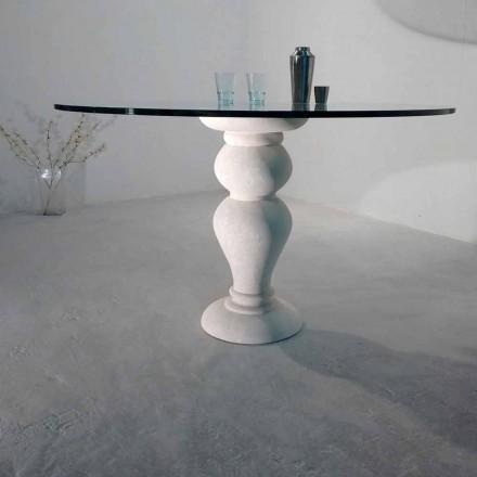 Tavolo rotondo in Pietra di Vicenza e cristallo Edipo, scolpito a mano