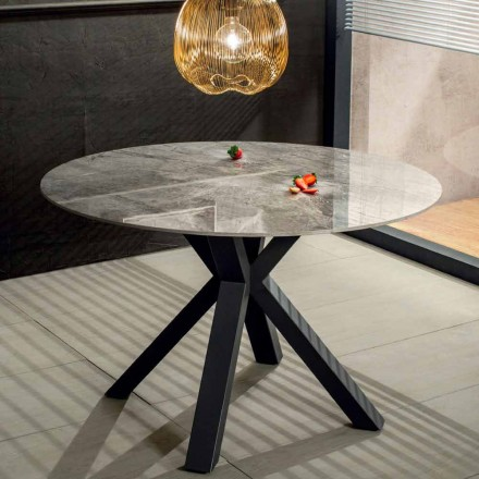 Tavolo da Pranzo Rotondo Moderno in Ceramica Effetto Marmo e Metallo - Jarvis