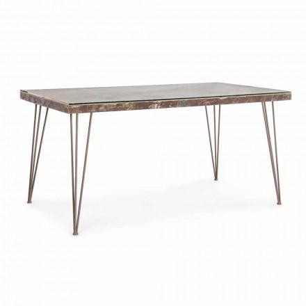 Tavolo da Pranzo Stile Industrial con Piano in Mdf e Vetro Homemotion - Brasil