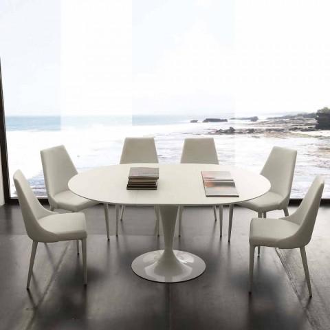 Tavolo da pranzo tondo allungabile fino 170 cm Topeka, design moderno