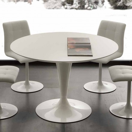 Tavolo da pranzo tondo bianco Topeka, design moderno
