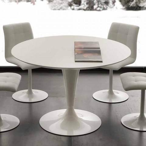 Tavolo Da Cucina Tondo.Tavolo Da Pranzo Tondo Bianco Topeka Design Moderno