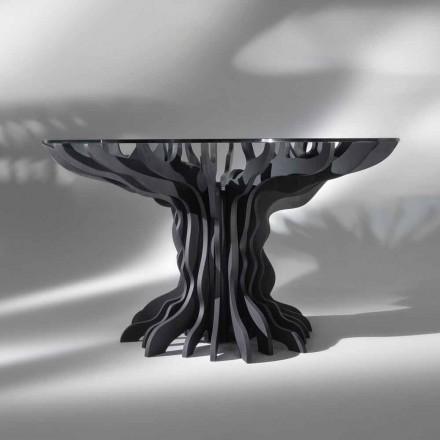 Tavolo da pranzo tondo Cassia, piano in legno nero e top in cristallo