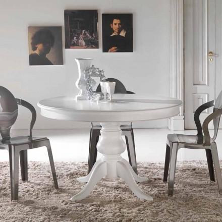 Tavolo da pranzo tondo classico in legno massello Oliva