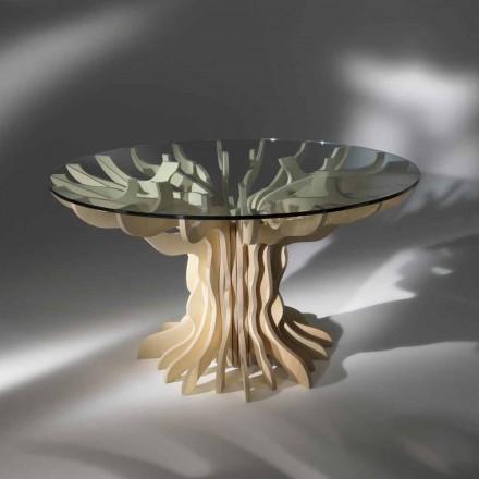 Tavolo da pranzo tondo in legno con piano in cristallo temperato Dalia