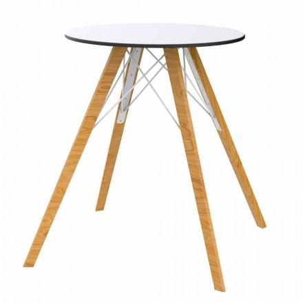Tavolo da Pranzo Tondo in Legno e Piano in Hpl, 4 Pezzi - Faz Wood by Vondom