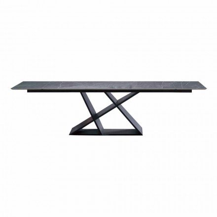 Tavolo Design Allungabile Fino a 294 cm con Piano in Gres Made in Italy - Cirio
