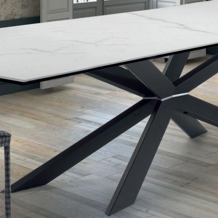 Tavolo di Design da Cucina in Ipermarmo e Acciaio Nero Made in Italy – Grotta