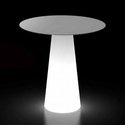Tavolo di Design da Esterno con Base Luminosa a Luce LED Made in Italy - Forlina
