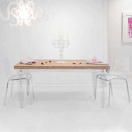 Tavolo di design in legno di abete e plexiglass made in Italy, Castro