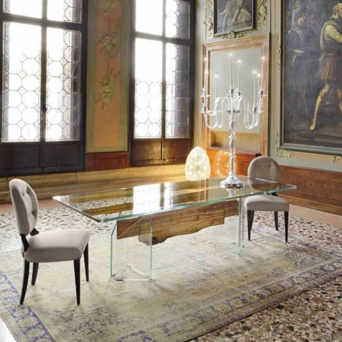 Tavolo di design in legno di briccola veneziana e vetro Venezia