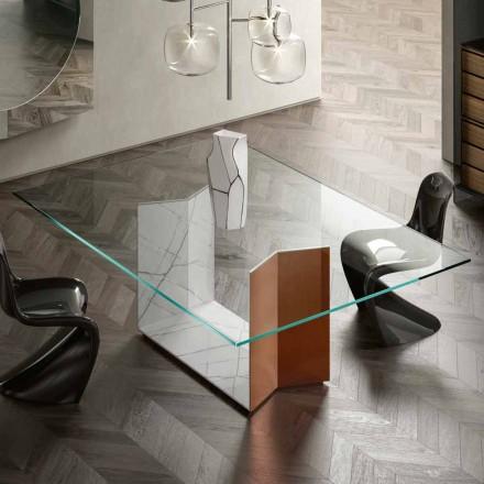 Tavolo in Metallo e Marmo con Piano in Vetro di Lusso Made in Italy - Minera