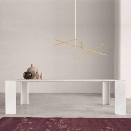 Tavolo di Design Made in Italy in Marmo Bianco Namibia, 210x110 cm – Monastero