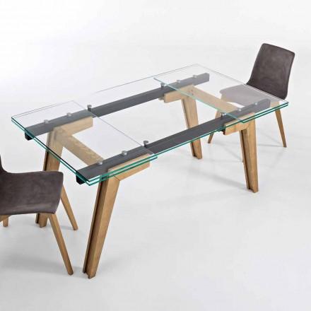 Tavolo estensibile in vetro e legno massello made in Italy, Dimitri