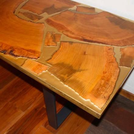 Tavolo fisso di design rettangolare legno e resina made in Italy Jam