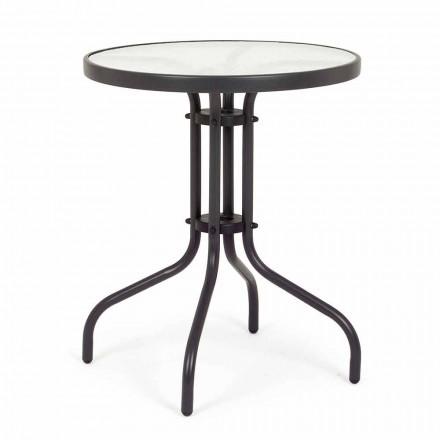 Tavolo da Giardino Tondo in Acciaio con Piano in Vetro di Design - Purizia