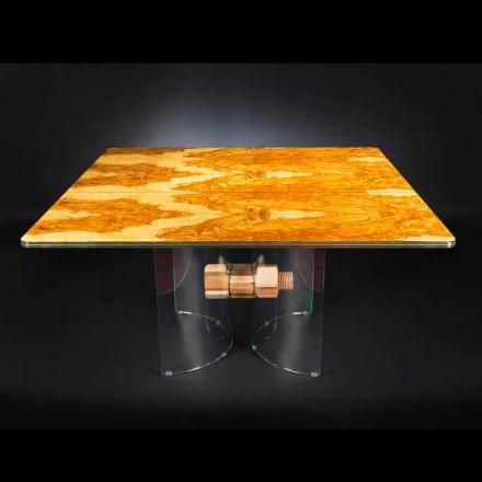 Tavolo in legno di olivo e vetro forma quadrata Portofino