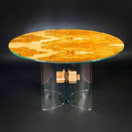 Tavolo in legno di olivo e vetro tondo Portofino
