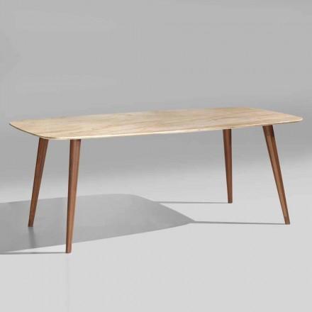 Tavolo Moderno in Marmo e Legno Noce di Alta Qualità Made in Italy – Hercules
