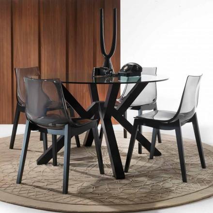 Tavolo in vetro e faggio massello grafite dalla forma rotonda Burgos