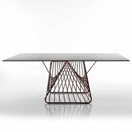 Tavolo in vetro temperato di design moderno fatto in Italia, Mitia