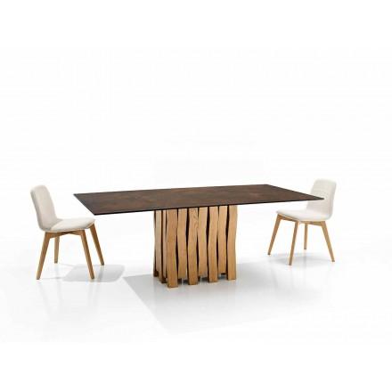 Tavolo in vetroceramica di moderno design fatto in Italia, Egisto