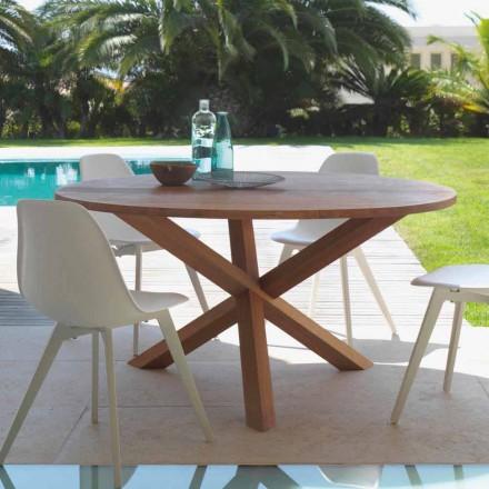 Tavolo da giardino rotondo in legno di mogano Bridge by Talenti