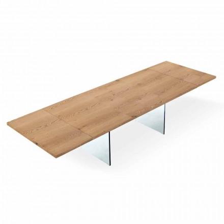 Tavolo Moderno Allungabile a 300 cm in Laminato e Vetro Made in Italy – Strappo