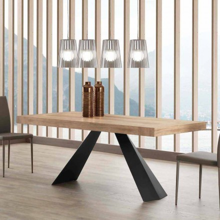 Tavolo Moderno Allungabile Fino a 260/280 cm in Legno e Metallo - Teramo