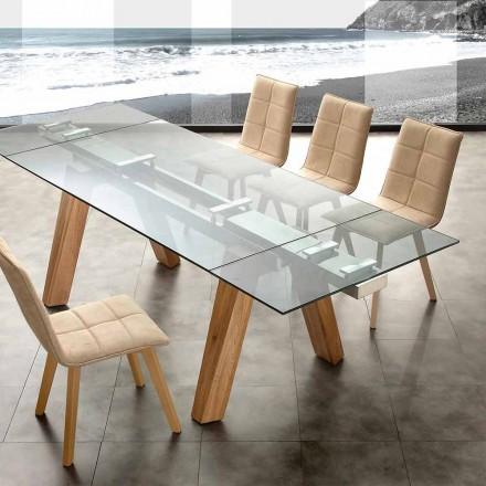 Tavolo moderno allungabile in vetro e massello naturale Florida