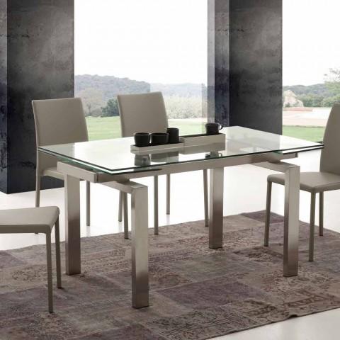 Tavolo moderno allungabile in vetro temperato Leo della linea RRDESIGN