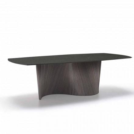 Tavolo moderno con piano in gres effetto marmo fatto in Italia, Adrano